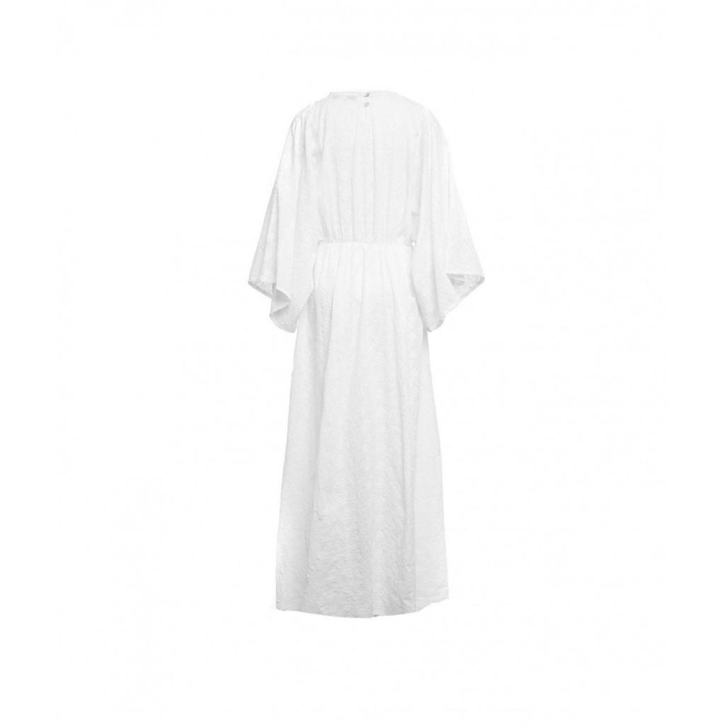 Maxi abito con stampa crochet bianco