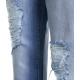 Mom jeans con cintura logo blu