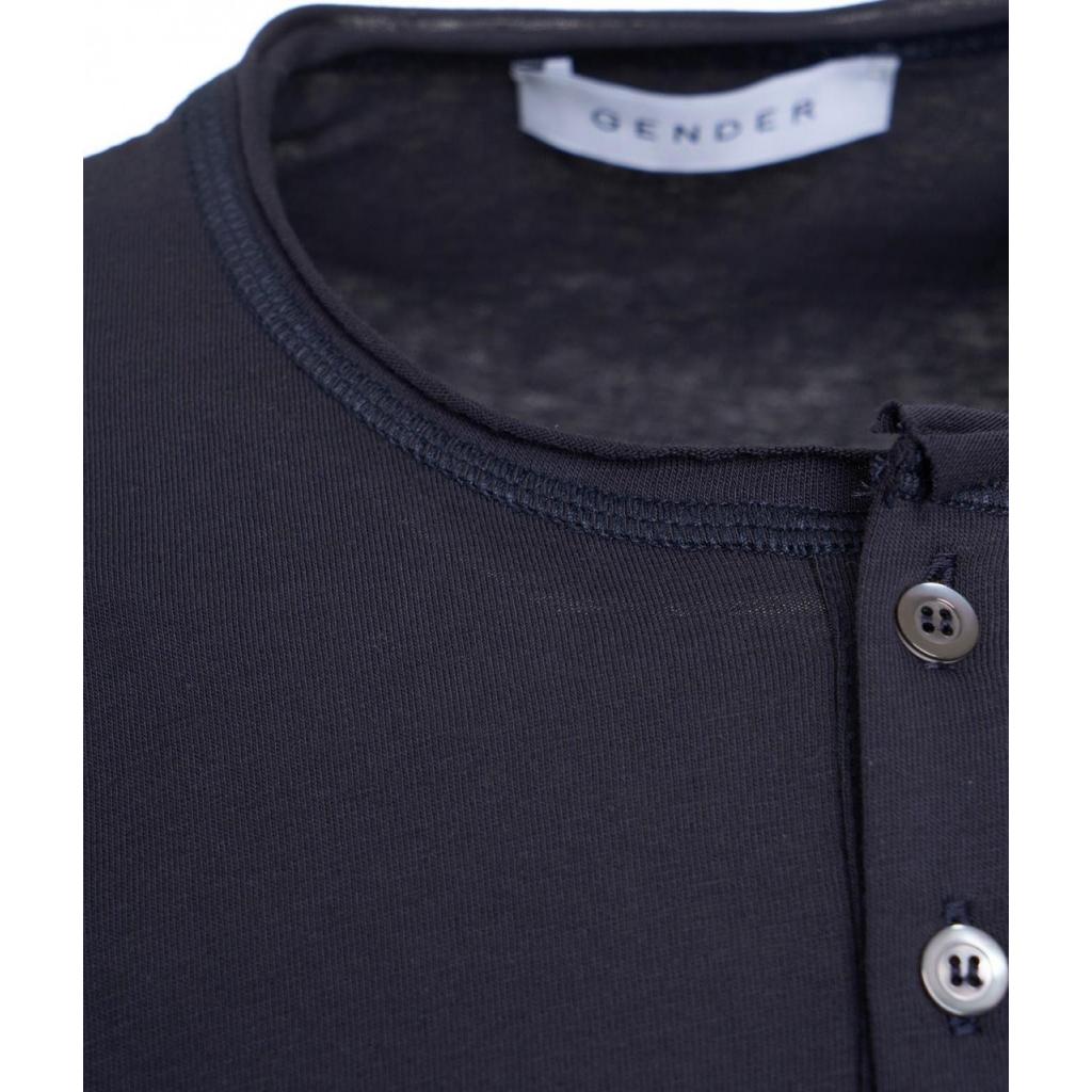 T-shirt con bottoni blu scuro