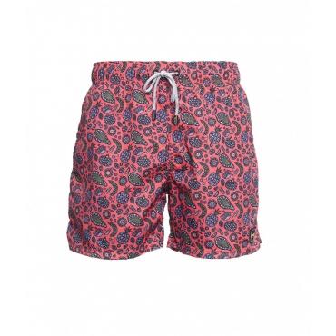 Pantaloncini da bagno con stampa rosa