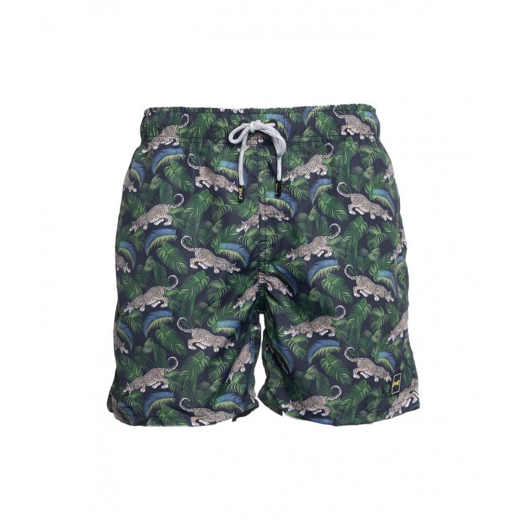 Pantaloncini da bagno con stampa verde