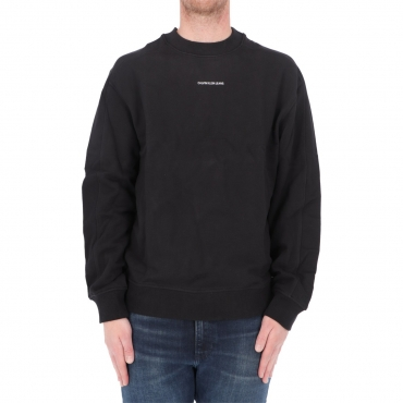 Felpa Calvin Klein Jeans Uomo Micro Branding Crew BEH CK BLACK
