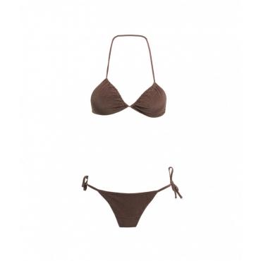 Bikini triangolo e slip laccetto marrone
