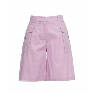 Shorts in misto lino rosa