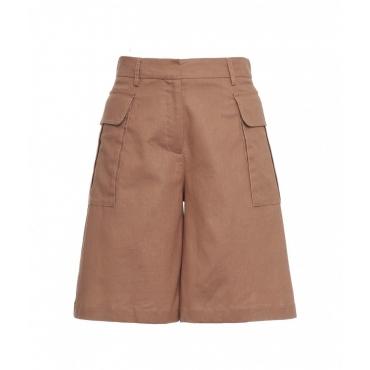 Shorts in misto lino marrone chiaro