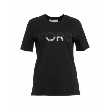 T-shirt con stampa logo nero