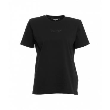 T-shirt con spalle imbottite nero