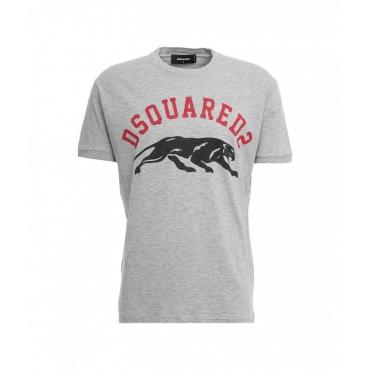 T-shirt con scritta logo grigio chiaro