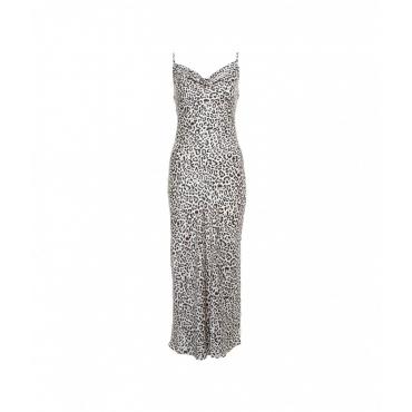 Slip dress leopardato crema