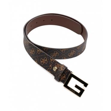 Cintura con fibbia con logo marrone