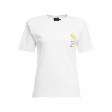 T-Shirt Smiley con spalline bianco
