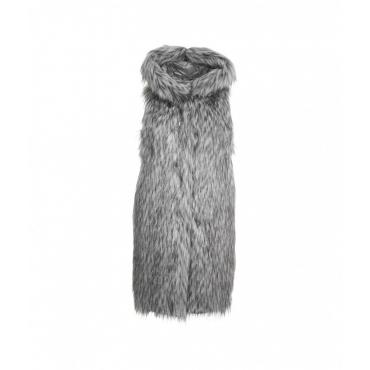 Gilet in piuma in pelliccia grigio