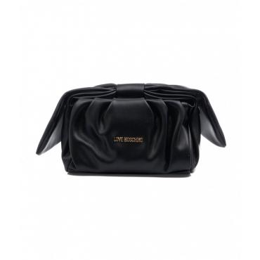 Mini borsa con applicazione di fiocco nero