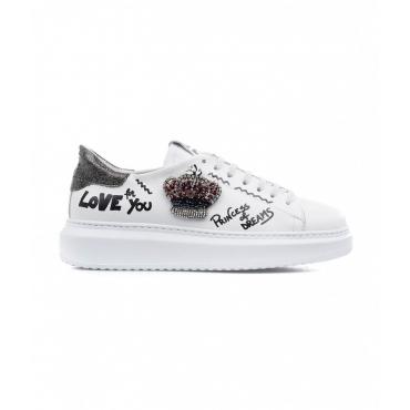 Sneaker con applicazione bianco