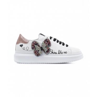 Sneakers con applicazione di glitter bianco