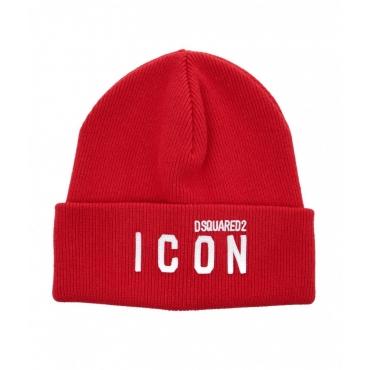 Berretto a maglia con logo rosso