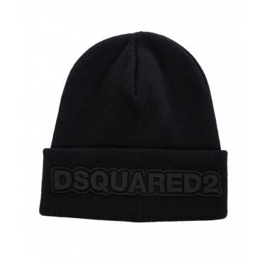 Berretto a maglia con logo nero