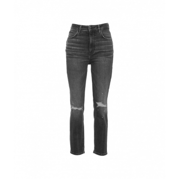 Jeans con elementi destroyed grigio scuro