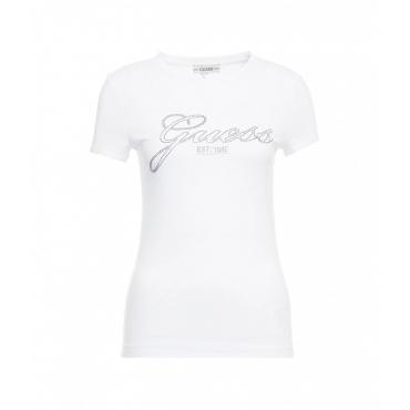 T-Shirt con logo in strass bianco