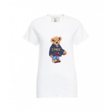 T-shirt Bear Tie bianco