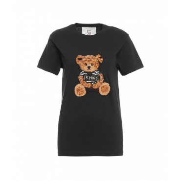 T-shirt Bear Tie nero