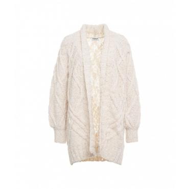 Cardigan in maglia a trecce beige