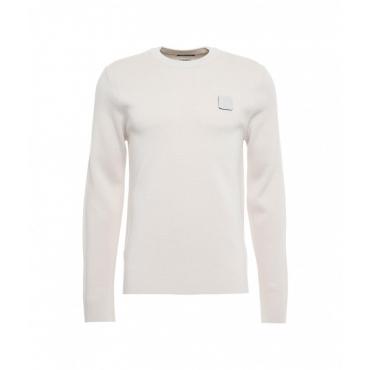 Maglione con patch logo staccabile beige