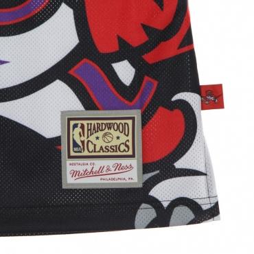 CANOTTA TIPO BASKET UOMO NBA BIG FACE BLOWN OUT FASHION JERSEY HARDWOOD CLASSICS TORRAP BLACK/ORIGINAL TEAM COLORS