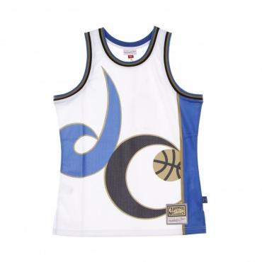 CANOTTA TIPO BASKET UOMO NBA BIG FACE BLOWN OUT FASHION JERSEY HARDWOOD CLASSICS WASWIZ WHITE/ORIGINAL TEAM COLORS