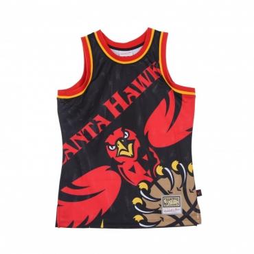 CANOTTA TIPO BASKET UOMO NBA BIG FACE BLOWN OUT FASHION JERSEY HARDWOOD CLASSICS ATLHAW BLACK/ORIGINAL TEAM COLORS