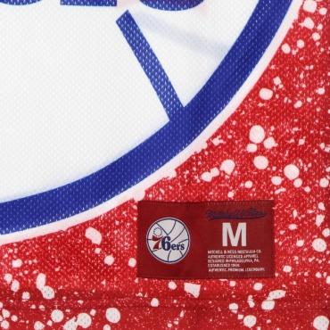 CANOTTA TIPO BASKET UOMO NBA JUMBOTRON SUBLIMATED MESH TANK HARDWOOD CLASSICS PHI76E SCARLET/ORIGINAL TEAM COLORS