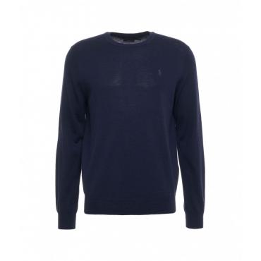 Maglione con ricamo del logo blu scuro