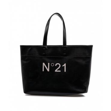 Maxi Shopper con logo nero