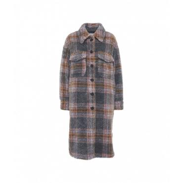 Camicia oversize con finitura glitterata grigio chiaro
