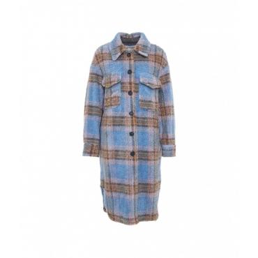 Camicia oversize con finitura glitterata azzurro