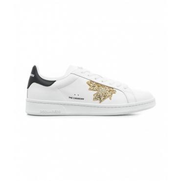 Sneaker con logo glitterato bianco