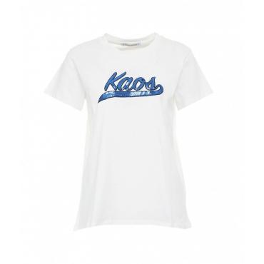 T-shirt con patch logo bianco