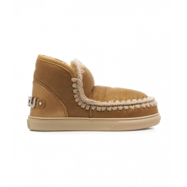 Stivali Eskimo Sneaker con strass beige
