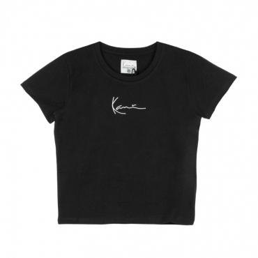 maglietta corta donna signature short tee BLACK/WHITE
