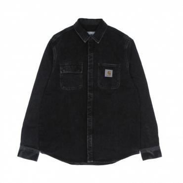 camicia manica lunga uomo salinac shirt jacket BLACK STONE WASHED