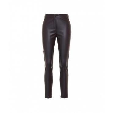Pantaloni in eco pelle marrone scuro
