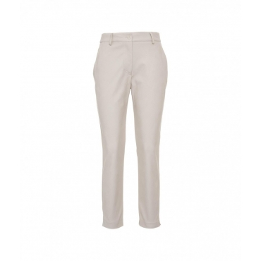 Pantaloni in eco pelle crema