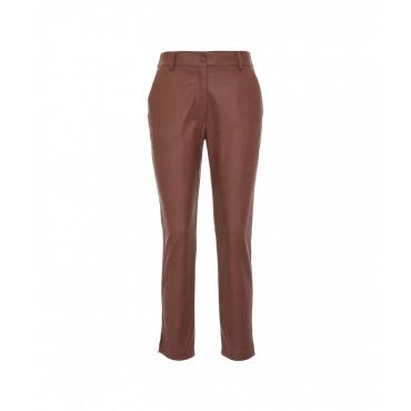 Pantaloni in eco pelle marrone