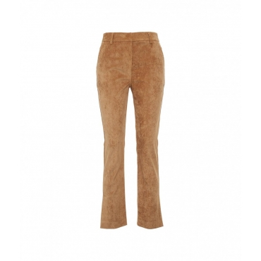 Pantaloni in velluto a coste con sovrapposizione Cammello
