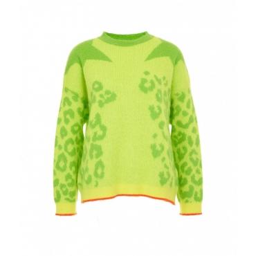 Maglione stampa animalier giallo
