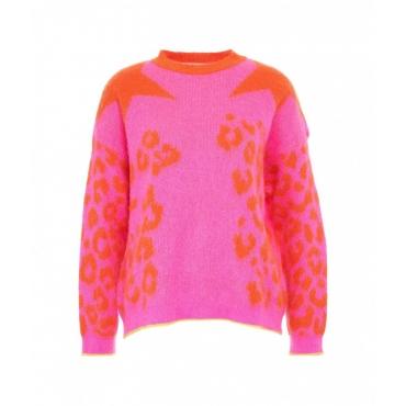 Maglione stampa animalier pink