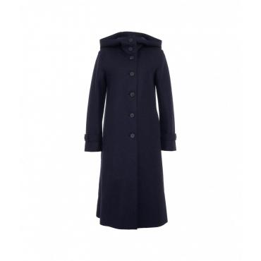 Cappotto con cappuccio in lana pressata blu scuro
