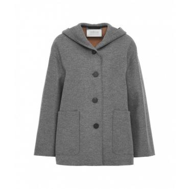 Giacca con cappuccio in lana grigio