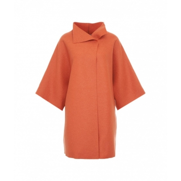 Cappotto kimono in lana pressata corallo
