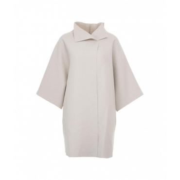 Cappotto kimono in lana pressata crema